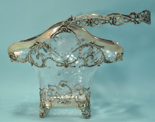 Victorian English Sterling Silver & Etched Glass Basket by William Comyns