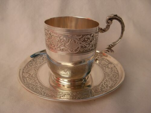 ANTIQUE FRENCH STERLING SILVER COFFEE CUP & SAUCER,LOUIS 15 STYLE,19th CENTURY