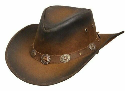 FREE SHIPPING Real Leather Cowboy Hat Western Aussie Style Hat Faded Conchos