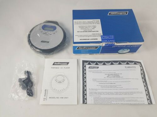 Audiosonic Personal Portable CD Player - Anti-Shock Bass Boost - New Open Box