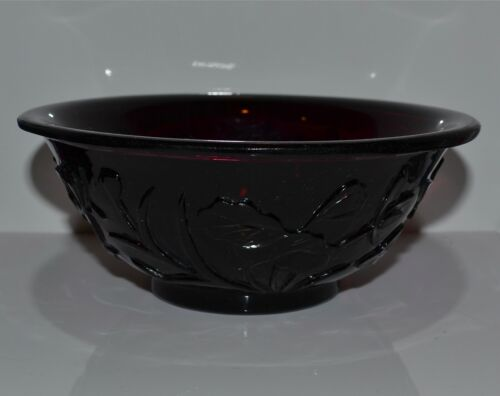 Antique Chinese Aubergine Peking Glass Bowl Carved Floral Design