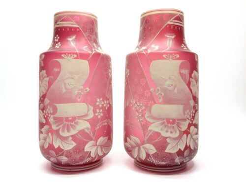 Hand Painted Victorian Cranberry Glass Vases with Opium Poppies Birds Flowers