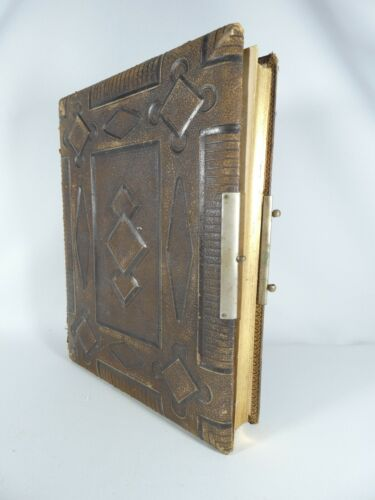 Antique Victorian 1887 Leather Bound Photo Picture Album Gold Book Presentation