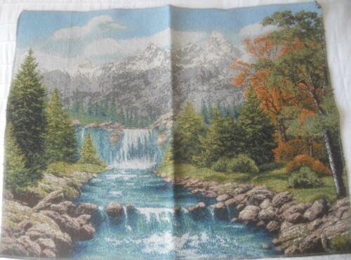 EUROPEAN WOVEN TAPESTRY WATERFALL AND MOUNTAIN SCENE