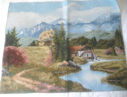 EUROPEAN WOVEN TAPESTRY WATERMILL AND MOUNTAIN SCENE