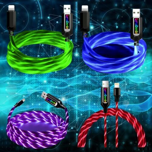 iPhone Android Micro Type C Led Light Flow Charging Lightning Charger Auto Off
