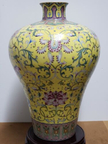 Fine Chinese Yellow Base With Famille Rose Porcelain Vase