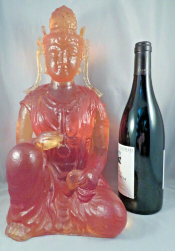 "Dorothy Thorpe lucite amber seated buddha statue sculpture Guanyin 14"" resin MCM"