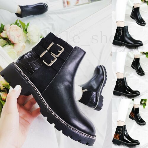 New Ladies Womens Studded Low Block Heel Zip Chelsea Ankle Boots Shoes Size 3-8
