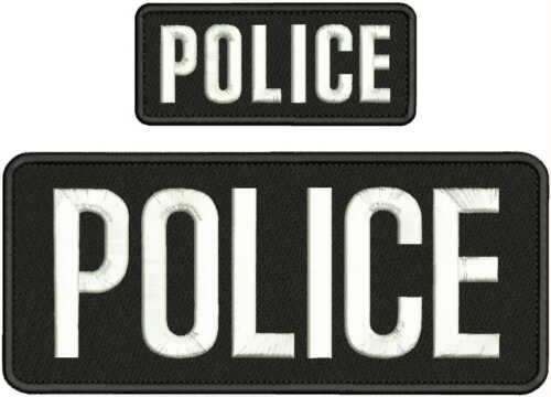 POLICE EMBROIDERY PATCH 4X10 AND 2X5 HOOK ON BACK BLK/WHITE
