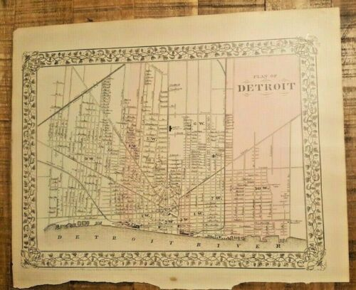 Antique Hand Colored MAP - PLAN OF DETROIT - 1880