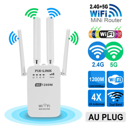1200Mbps Dual Band Wireless WiFi Repeater Router Range Extender Signal Booster