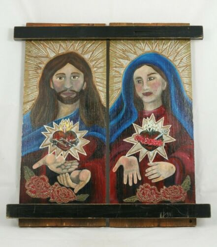 Lg Wood Hanging Wood Painting of Jesus and Mary American Folk Art Decor Signed