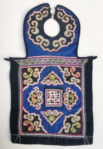 China around 1960, ancient Miao baby carrier, fine embroidery, partly with silk