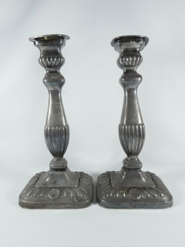 Antique Edwardian 1900 Silver Plated Pair of Candlesticks Candle Holders Plate