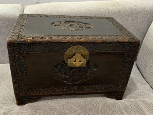 Vintage Antique Chinese Wood Trunk / Box w/ Carved Figured & Flowers Decoration