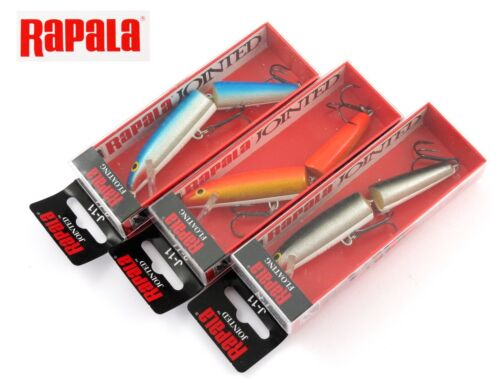 Lot X3  RAPALA jointed J-11 GFR / S / B 11 mm 9 grs