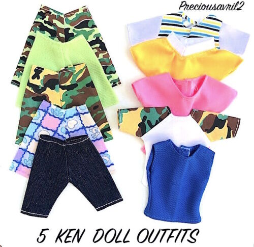 New Barbie Doll Clothes Ken Doll 5 outfits clothing outfit t/shirts shorts NEW
