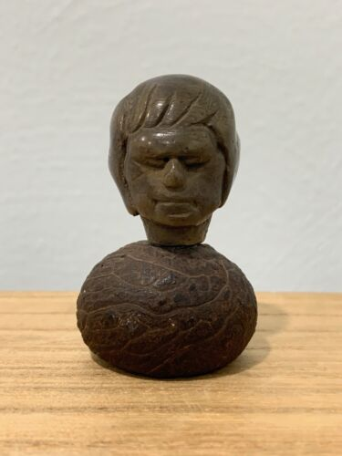 Vintage Antique Unusual Possibly Asian Small Miniature Wood Bust Figurine of Man