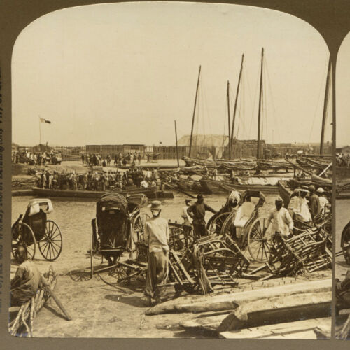 China, Tianjin: Rickshaws & Ferry on the Hai He River - Old Stereoview Photo