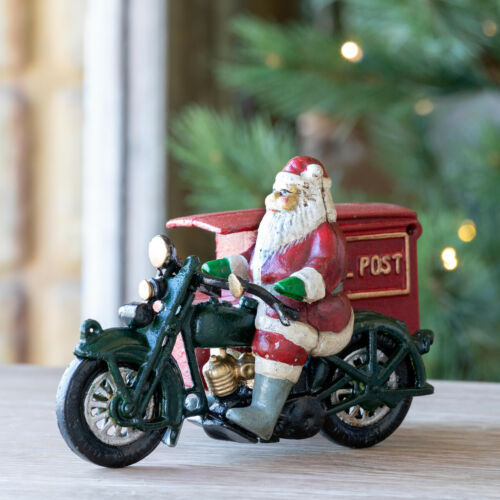 Cast Iron Santa  Parcel Post Motorcycle Delivery Christmas Reproduction