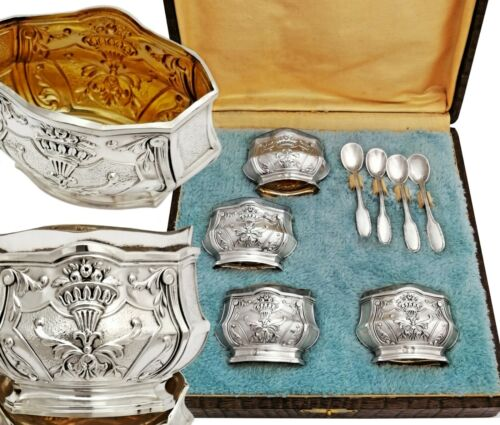 Boxed French Silver & Vermeil Salt Cellars and Salt Spoons