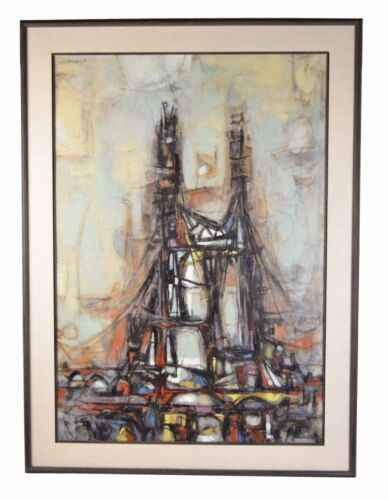 1955 Cubist Deconstructed Architecture Abstract Oil Painting sgd Arthur Jacobson