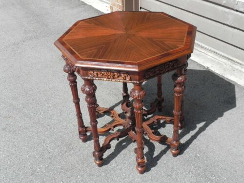 19th Century English Victorian Carved Oak Octagon Work Sewing Side Table