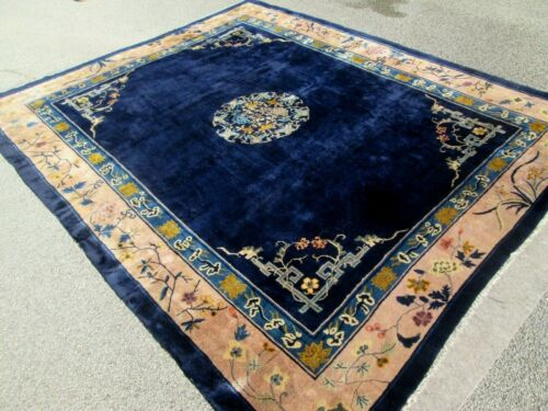 BEAUTIFUL DECO CHINESE ROOM SIZE RUG W/DEEP THICK WOOL INDIGO BLUE, HAND MADE