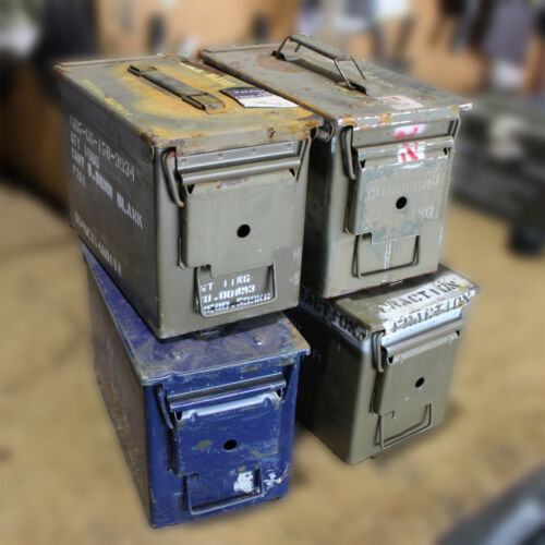 "4 X 50 CAL Ammo Box Steel Box Tool Box Ex Army Used ""GRADE C"" 4 X Pack Bundle!!Other Hunting - 383"