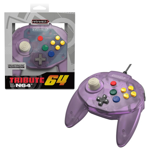 Retro-Bit Tribute 64 Wired N64 Controller for Nintendo 64 N64 Atomic Purple NEW