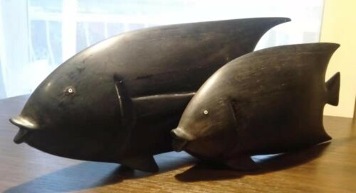 Two African Hand carved Hardwood Dark Purple Wooden Fishes Weight: 600 g & 430g