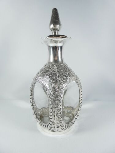 Antique Hong Kong Sterling Silver Overlay Glass Dimple Decanter Bamboo Chinese