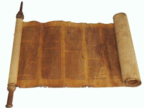 TORAH SCROLL BIBLE VELLUM MANUSCRIPT 250-300 YRS OLD MOROCCO COMPLETE Leviticus