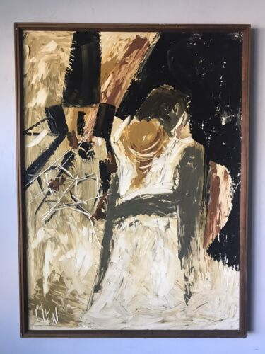 ETTA BENJAMIN CIEN MODERN ABSTRACT OIL PAINTING 1960S VINTAGE EXPRESSIONIST