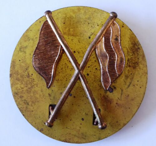 Vintage AIF Military Australian Signals Crossed Flags Badge Stokes & Sons Melb1939 - 1945 (WWII) - 13977
