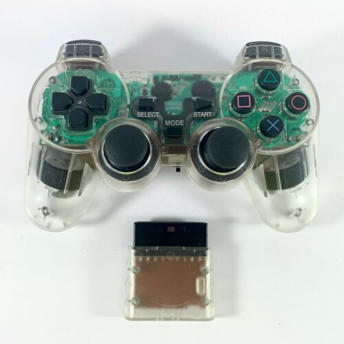 PS2 Controller Wireless 2.4G TRANSPARENT CLEAR Dual Vibration for Playstation 2