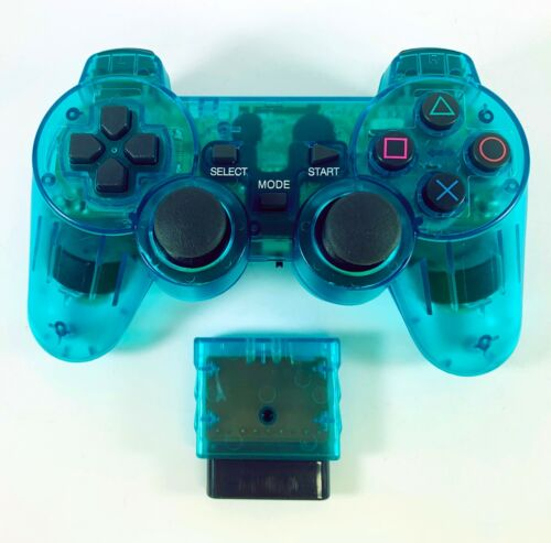 PS2 Controller Wireless 2.4G TRANSPARENT BLUE Dual Vibration for Playstation 2