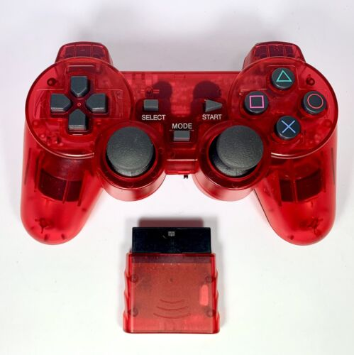 PS2 Controller Wireless 2.4G TRANSPARENT RED Dual Vibration for Playstation 2