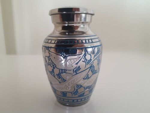 """Memorial Keepsake Cremation Ashes Urn 2.5"""" Small -  Going Home Dove Blue Nickel"""