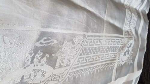 BEAUTIFUL ANTIQUE LINEN DAMASK ORNATE WILLOW PATTERN WHITE TABLECLOTH