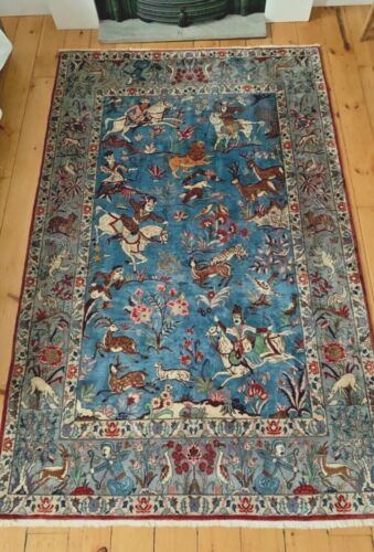 1930's deco antique wool area rug with animal imagery from Caucasus 7 x 4.7 ft