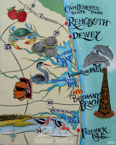 Delaware Beaches Map style Print  decor lewes vintage style bethany  rehoboth