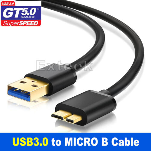USB 3.0 Male A to Micro B Super High Speed Hard Drive Cable For Seagate WD