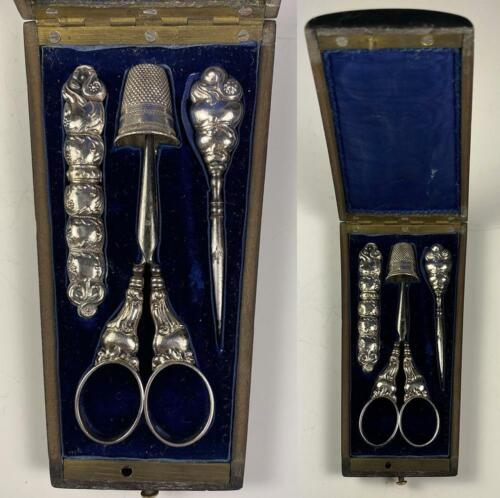 Antique French Sterling Silver Sewing Tools, Scissors, etc., Ebony Case, Box