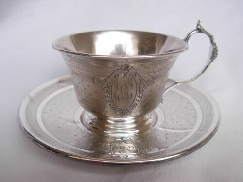 ANTIQUE FRENCH STERLING SILVER COFFEE CUP AND SAUCER,LOUIS 16 STYLE,LATE 19th.
