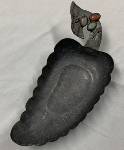 Antique Chinese Asian Pewter Figural Leaf Dish With Gemstone Handle
