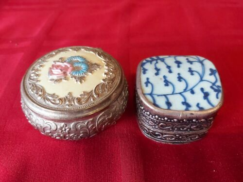 2 Gorgeous Vintage Silver Plated small jewlry box collectables one made in Japan