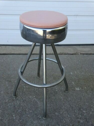 A Vintage Mid-Century Eames Era 1950s Chrome Footrest Swivel One Bar Stool Chair