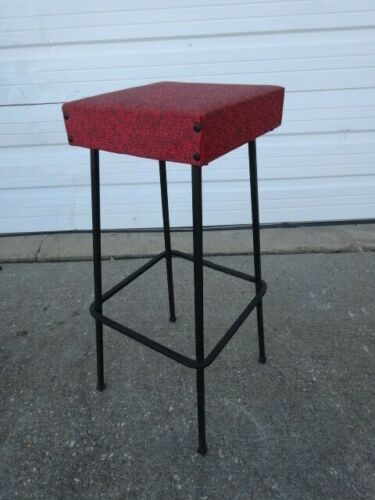 A Vintage Mid-Century Modern Eames Era 1950s Iron Footrest High Bar Stool Chair